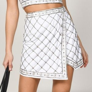 Tobi White Embellished Faux Wrap Skirt